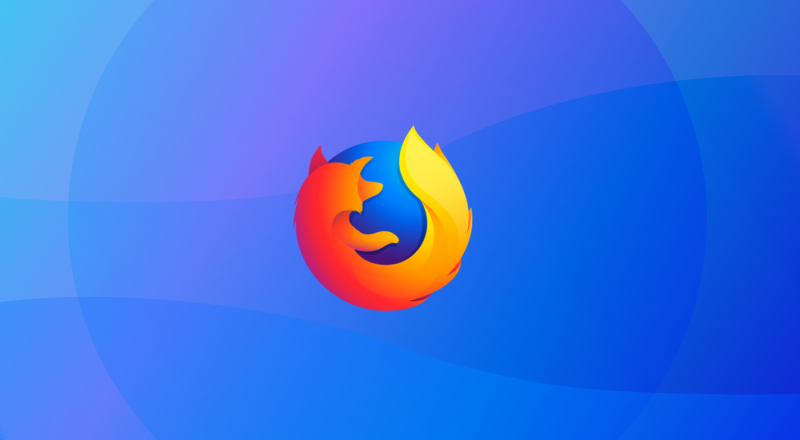 The icon of Mozilla Firefox placed on a blue graphic