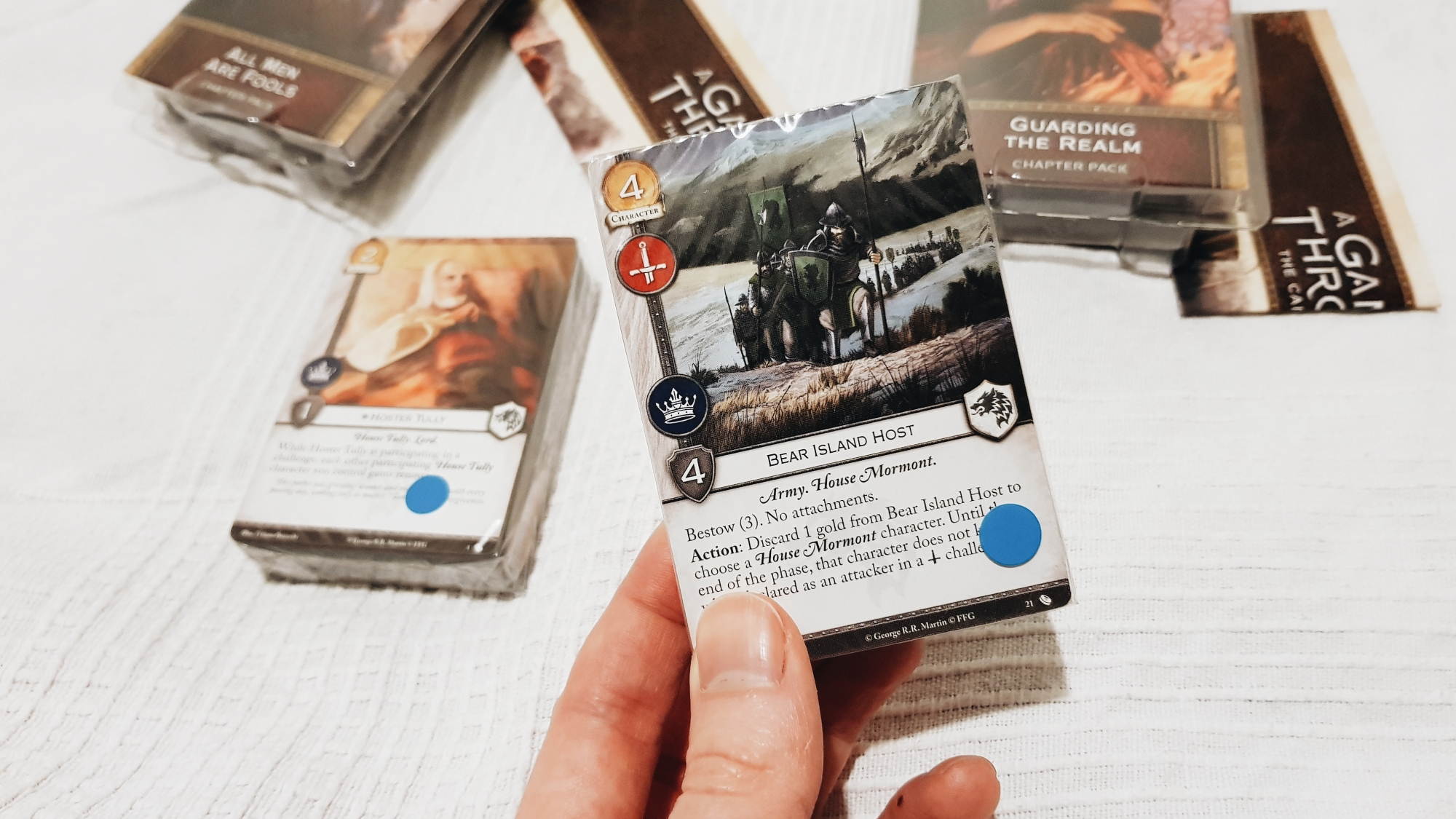 A photo of a sealed packet of cards from the A Game Of Thrones: A Card Game expansion pack