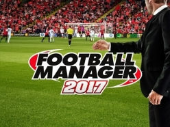 "A computer generated image of a football manager stood on the sideline of a football pitch with a ""Football Manager 2017"" logo laid over the top"