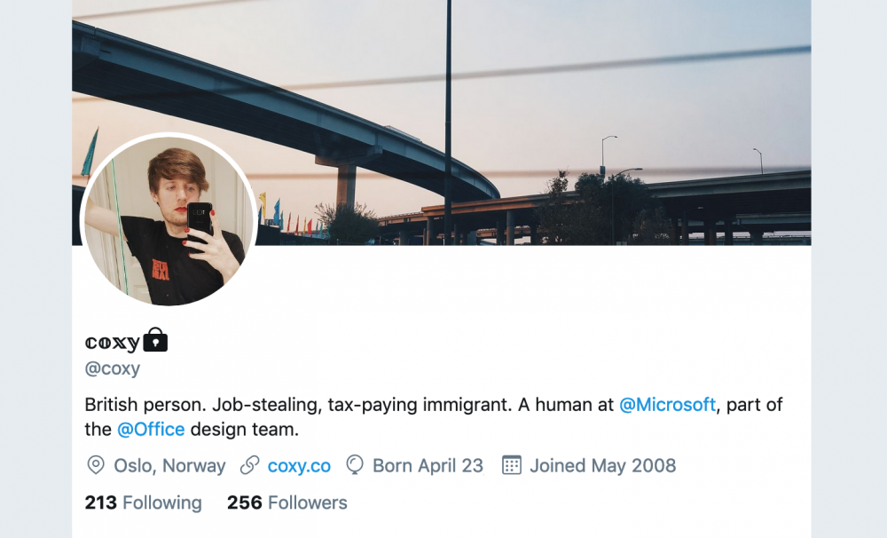 A screenshot of Twitter showing the header and profile information of the user @coxy as of March 2019.