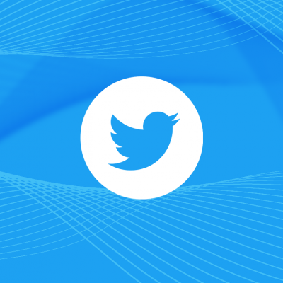 A Twitter logo (the silhouette of a bird) sat on a blue background.