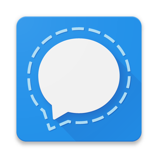 The logo and icon for Signal Messenger represented by a speech bubble with a dashed outline.