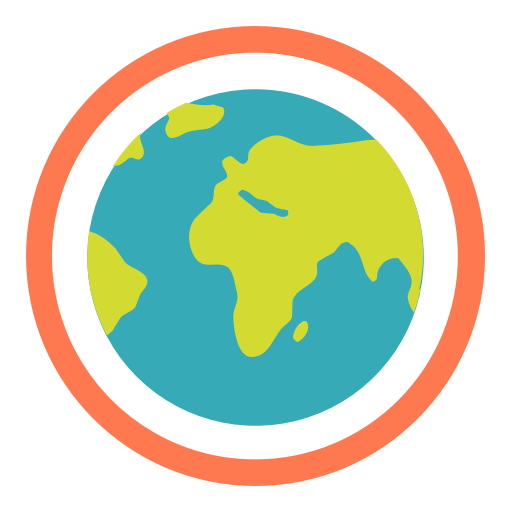 The logo for the Ecosia search engine - visually represented by an illustration of the earth, surrounded by an orange ring.