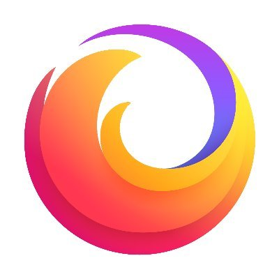 Firefox logo as of 2019. It looks like a fire-like tail of a fox in a swirled circular motion.