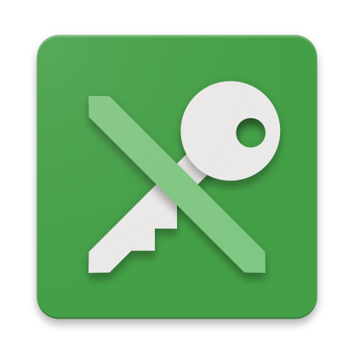 The logo and icon for KeePass DX, represented by an illustration of a key with a line through it to make an 'X' on a green background.