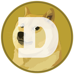 The logo for Dogecoin. It's basically a dog on a gold background with the letter D infront of it.
