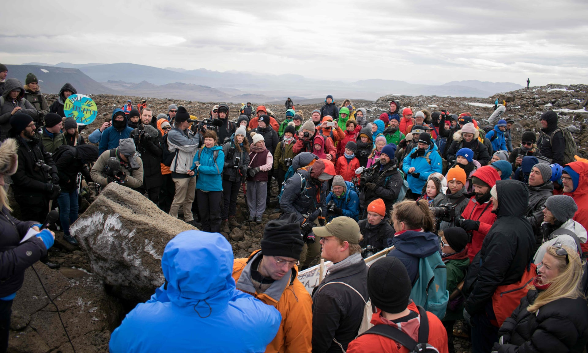 A ceremony to mark the passing of Okjokull, Iceland's first glacier lost to climate change. It once covered 16sq km but has melted to a fraction. Photograph: Jeremie Richard