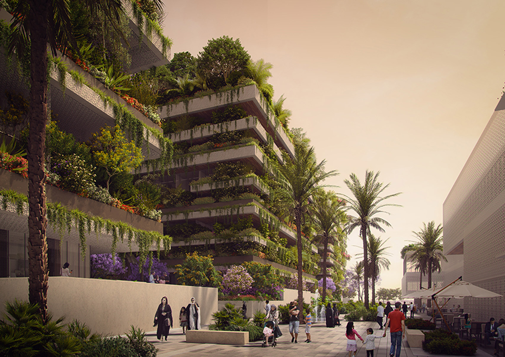 Three cube-shaped vertical forest apartment blocks for Egypt's New Administrative Capital, which is being built to the east of Cairo.