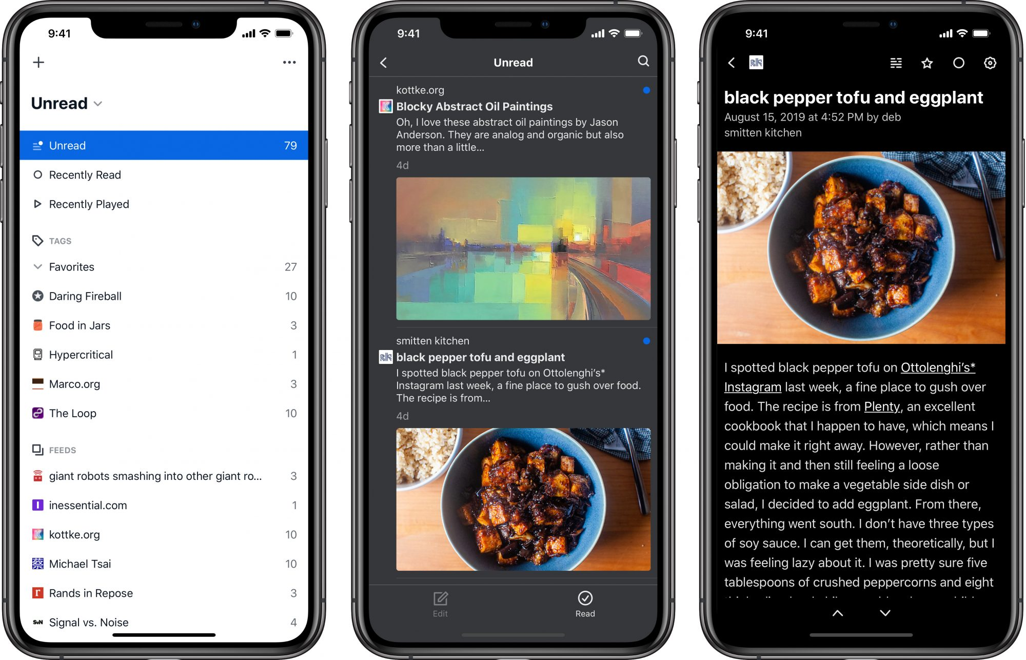 A series of three iPhone device mock ups with various screenshots of the Feedbin app shown in each one.