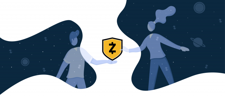 An illustration of a man and woman reaching out towards a Zcash shield logo