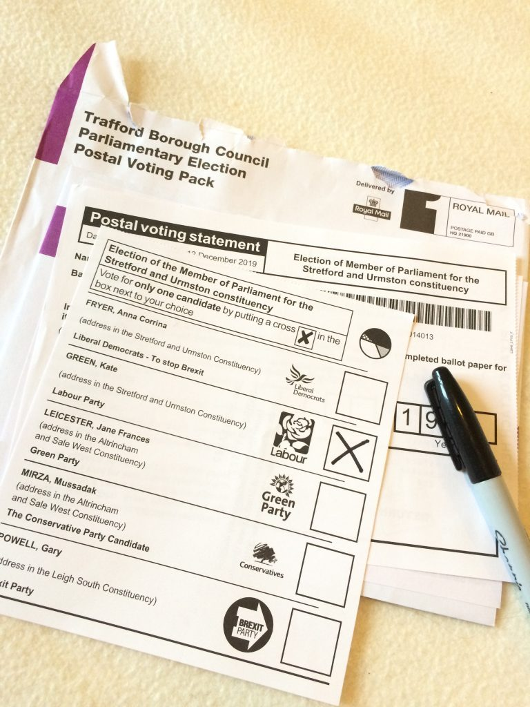 A photo of a postal vote ballot paper for the UK parliamentary elections in 2019. The box next to the Labour candidate has been marked with an 'X'.
