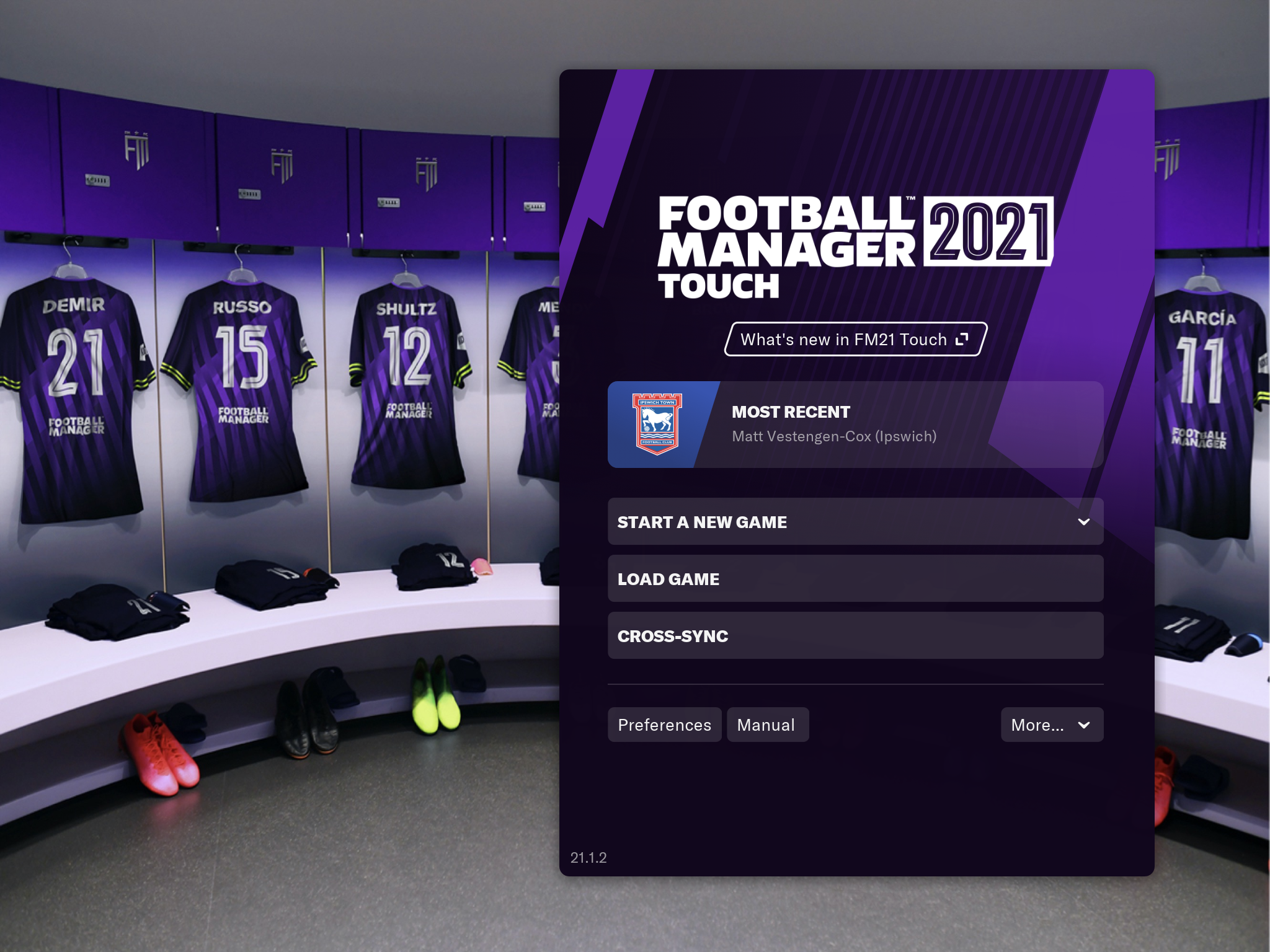 A screenshot of the title screen for FM21 Touch