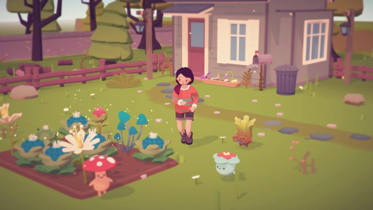 A screenshot from the video game Ooblets showing the main character stood outside her house/farm.