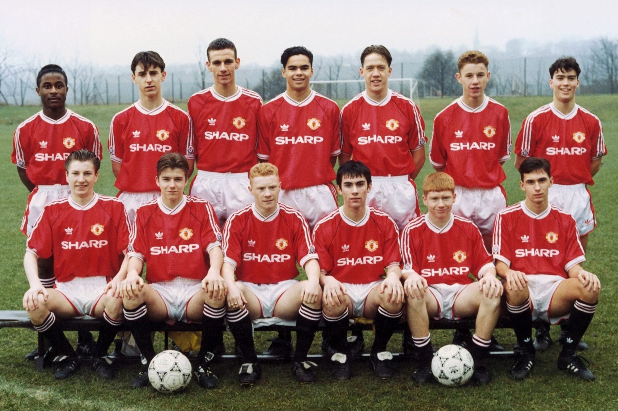 Manchester United class of 92 - wearing what could be a classic football shirt mystery box item