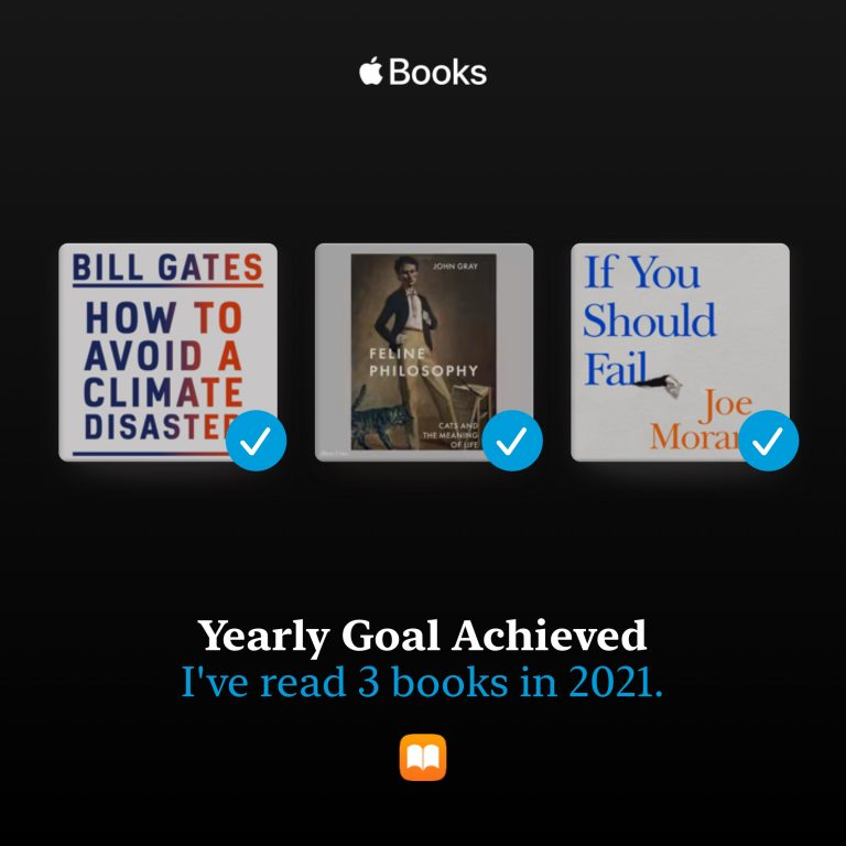 An image generated by Apple Books which shows three book covers with check marks indicating each has been read. Below the text reads