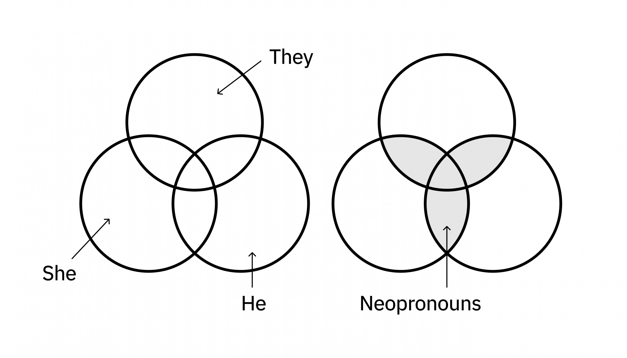 A diagram which explains the pronoun icon and why the symbolism of three overlapping circles work. Each segment created is labeled with They, She, He, or Neopronouns.