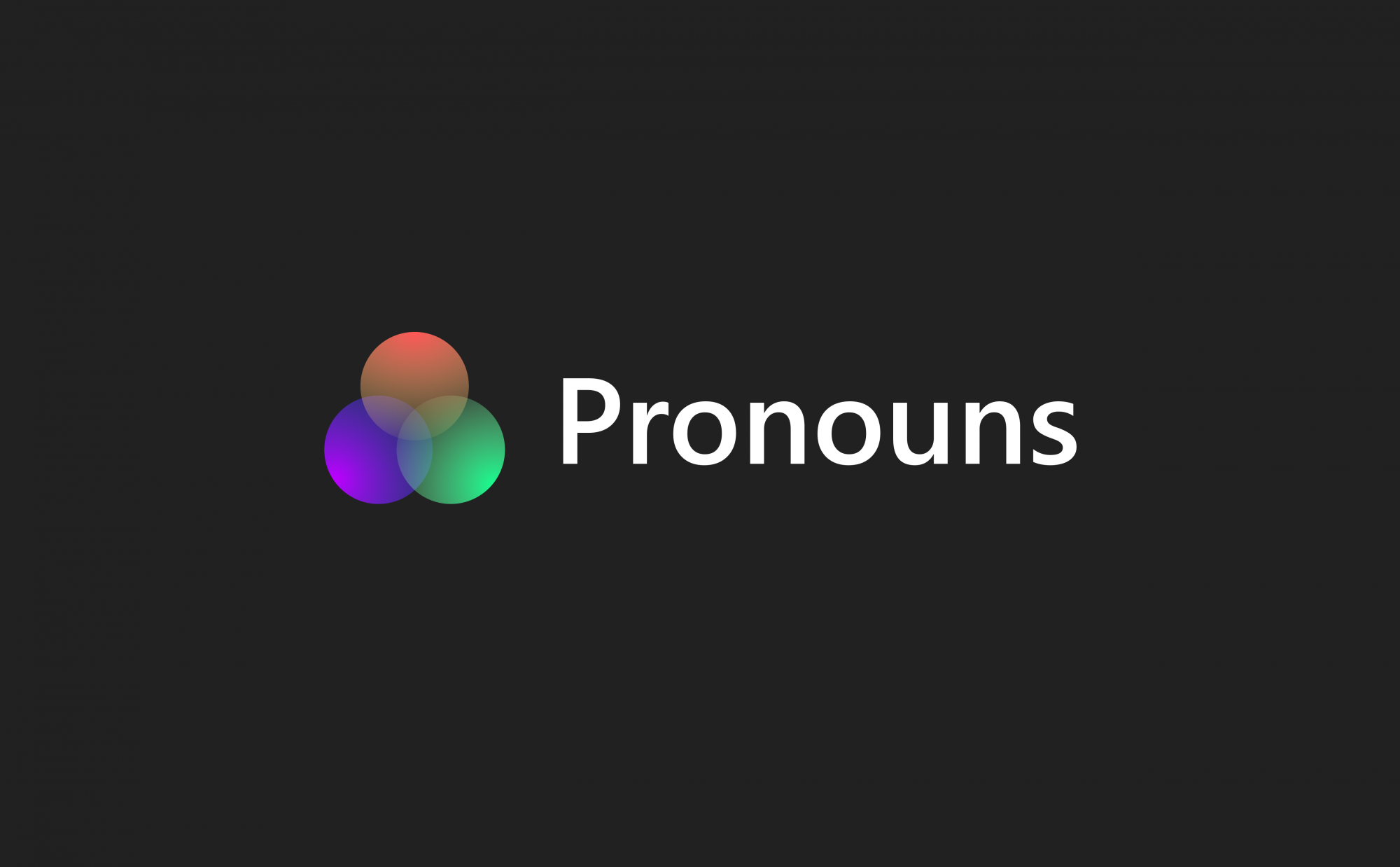 An example of a pronoun icon in gradient format with some supporting text which reads 'pronouns'
