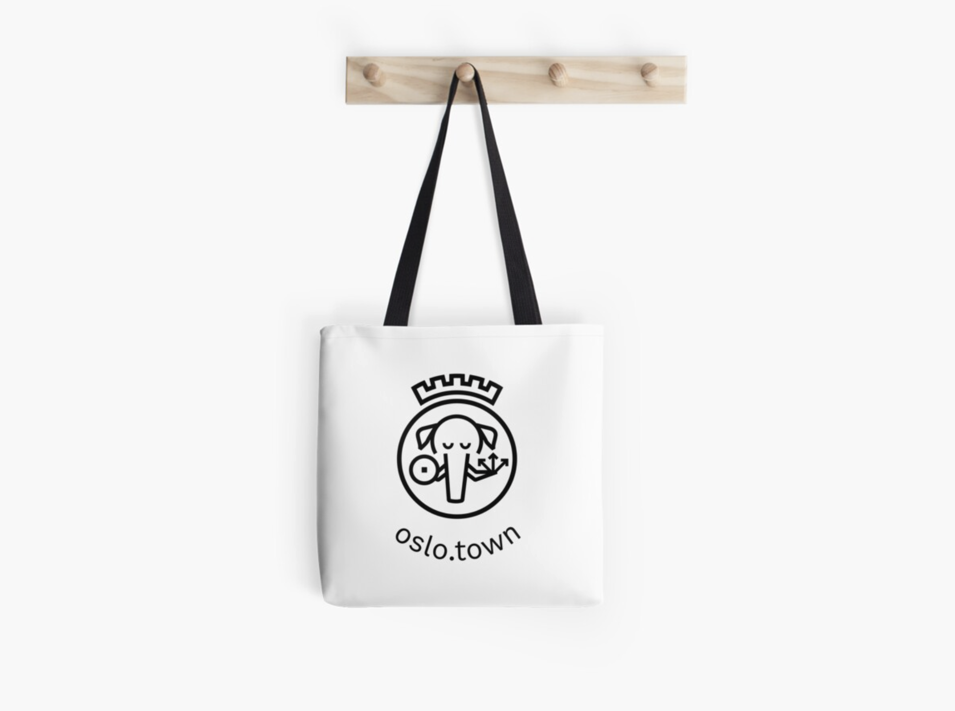 A photo of the oslo.town logo on a tote bag