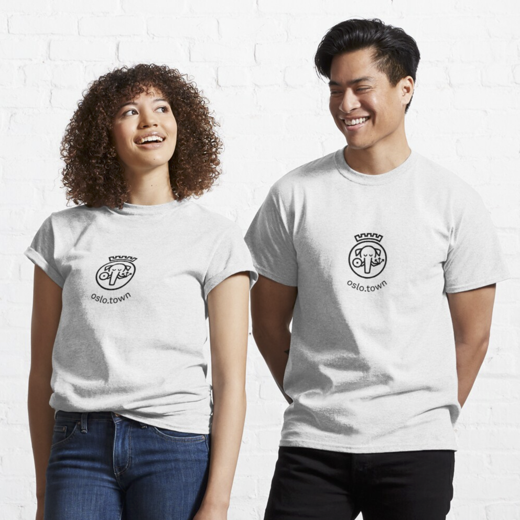 A photo of the oslo.town logo on t-shirts